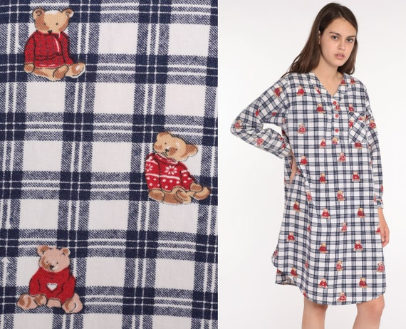 Nightgown Pajama Dress Flannel Teddy Bear Nightie 80s Checkered Retro Tshirt 1980s Kawaii Midi Medium