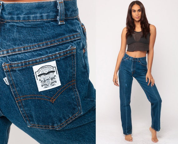 Levis Jeans Straight Leg Jeans Mom Jeans High Waist Jeans 80s Jeans Blue Levi High Waist Denim Pants 1980s Vintage Extra small xs 2 26
