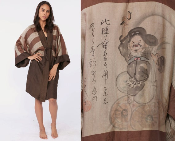 Japanese Kimono Robe Jacket REVERSIBLE Silk Dressing Gown Bohemian Asian Wrap Brown Vintage Boho Hippie Festival Small Medium xs