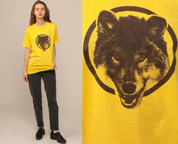 WOLF TShirt Animal T Shirt 80s Graphic Tshirt Ely Minnesota Shirt Yellow Burnout Hipster 1980s Screenprint Retro Extra Large xl