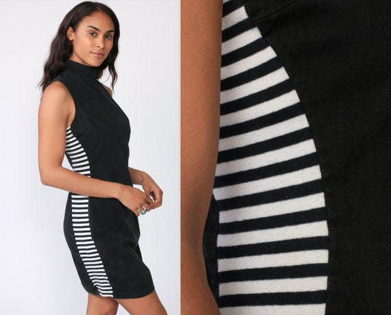 Bodycon Mini Dress 90s Black Club Mock Neck Mini Dress Striped White Sleeveless 1990s Party Dress LBD Stretchy Sexy MiniDress Small Medium