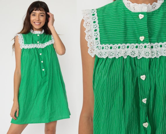 Green Tent Dress 70s EYELET Lace Bib Dress Heart Button Dress Hawaiian Mini Striped Cotton Summer Hippie Bohemian Vintage Trapeze Boho Small