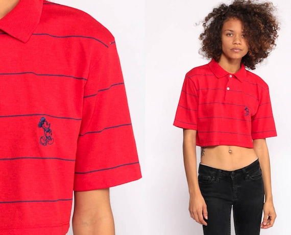 Mickey Mouse Shirt Red Crop Top Walt Disney Polo Shirt 90s Graphic Kawaii Striped T Shirt Vintage Retro Tee 1990s Extra Small xs