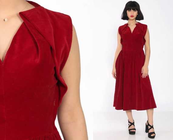 50s Velvet Dress Red Formal Party Velvet Midi 1960s Mad Men Tea Length Pin Up 1950s Vintage Fit and Flare Cocktail Extra Small xs s