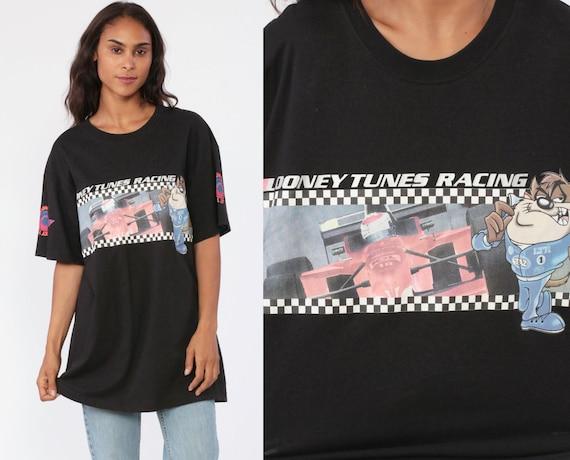 Taz Shirt Looney Tunes Shirt Car RACING Tasmanian Devil Tshirt 90s Black Graphic Retro Vintage Tee T Shirt 90s Streetwear Large