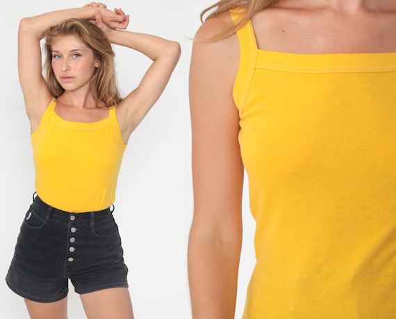 Yellow Tank Top Retro Shirt 80s Shirt Plain Sleeveless Top Vintage Tight Fitted Simple Basic Extra Small xs