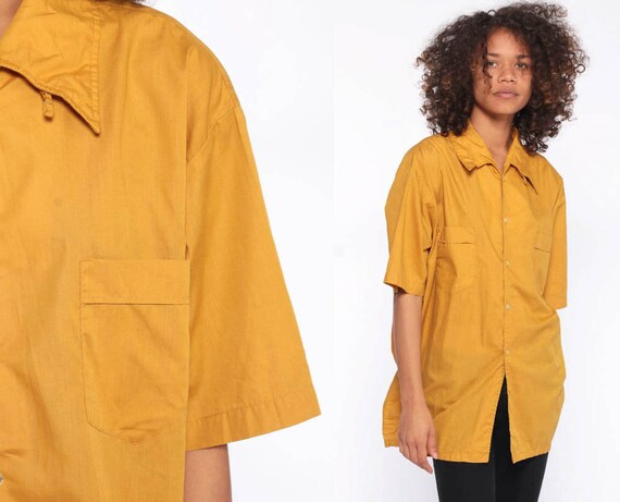 70s Button Up Shirt -- Mustard Yellow Shirt 70s Button Up Shirt 80s Short Sleeve 1970s Button Up Oxford Collared Shirt Medium Large