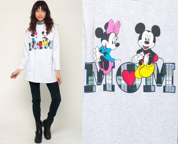 Mom Shirt Disney TShirt Mickey Minnie Shirt 90s MINNIE MOUSE Graphic Cartoon T Shirt Turtleneck Vintage Hipster Long Sleeve Medium