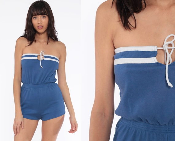 Strapless Romper Woman 80s ONESIE Playsuit Shorts Blue Keyhole 70s Retro Roller Girl One Piece 1980s Sexy Vintage Extra Small xs