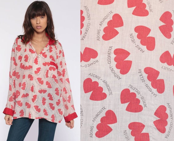 Heart Print Pajama Shirt -- ROMEO & JULIET -- 70s Pajamas Top Graphic Button Up Sleep Shirt Vintage 1970s Red Long Sleeve Extra Large xl l