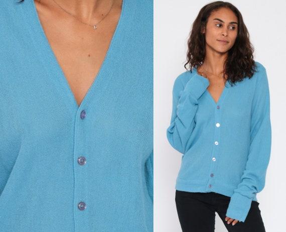 Blue Sweater Grandpa Cardigan Boho Baby Blue Sweater Plain Button Up 80s Grunge Slouchy Acrylic Knit Vintage Nerd Preppy Small