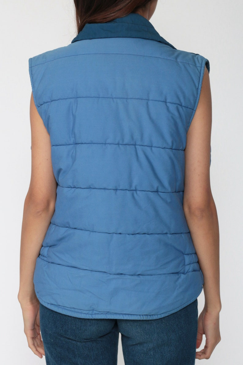 Ski Puffer Vest 70s Blue Vest Color Block Vest Puffy Sleeveless Jacket Winter Vest 80s Hipster Vintage 1970s Medium Large