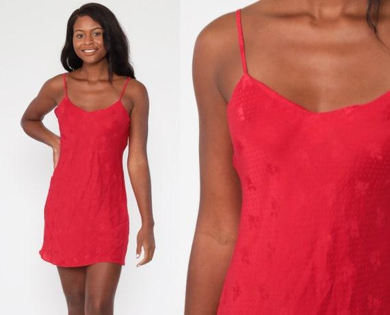 Silk Slip Dress 90s Red Slip Dress Floral Embossed Lingerie Chemise Mini Slip V Neck Vintage Spaghetti Strap Nightgown Medium 8
