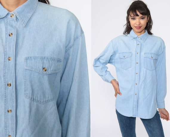 Blue Denim Shirt 90s Grunge Shirt Jean Shirt Button Up Top Vintage 1990s Long Sleeve Blue Small Medium