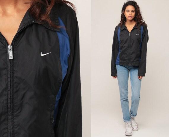 Black Nike Windbreaker Jacket Shell Zip Jacket Striped Streetwear Blue Striped Vintage Retro Sports Extra Small xs