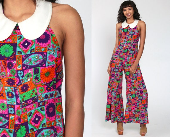 70s Jumpsuit Bell Bottom 60s Psychedelic Hippie 1960s Mod Peter Pan Collar patchwork 1970s Wide Leg Pants Vintage Pantsuit extra small xs