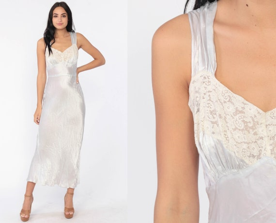 Vintage 40s Lingerie Nightgown -- Bias Cut Silk Nightgown Blue Slip Dress Lingerie Negligee Woven Rayon 1940s Deco Full Slip Small Medium