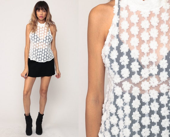 Sheer White Blouse Mesh Tank Top Floral Shirt High Neck Top Romantic Shirt Sleeveless Vintage Shirt Small
