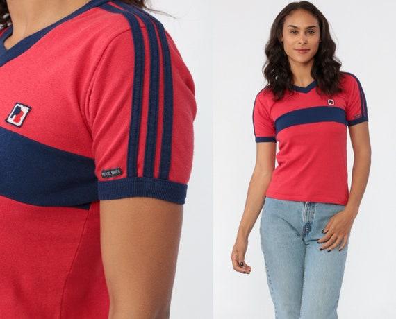 Red Ringer Tee Shirt 80s T Shirt Pierre Bonee V NECK Tshirt Retro Tee Short Sleeve Striped Navy Blue TShirt 1980s Vintage Extra Small XS