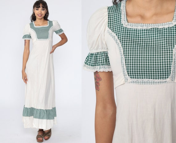 Gunne Sax Dress 70s Maxi Boho Prairie Dress 1970s