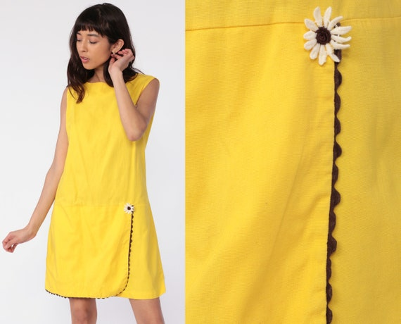 Mod Scooter Dress 60s Mini Drop Waist Yellow Floral Daisy SKORT Culottes Romper Playsuit 1960s Twiggy Vintage Sleeveless Sixties Medium