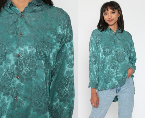 Jacquard Blouse 90s Button Up Shirt Floral Blouse Long Sleeve Top Blue-Green Grunge Boho Romantic 1990s Vintage Bohemian Medium Large