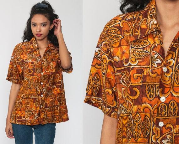 Hawaiian Shirt 70s Roberts Hawaii Shirt Car Rabbit Blouse Tropical Shirt Button Up Shirt Floral Print 1970s Boho Top Beach Large