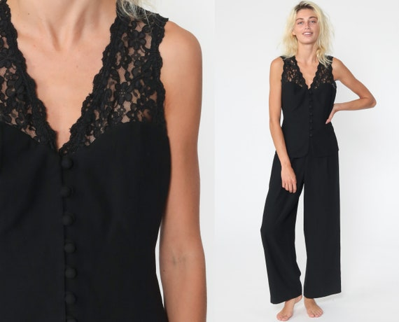 90s Black Jumpsuit LACE CUTOUT Pants Straight Leg Boho Goth 80s Cut Out Vintage Pantsuit Gothic Bohemian Sleeveless Medium