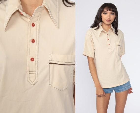 Retro 70s Knit Polo Shirt Vintage Open Weave Semi Sheer Striped Short Sleeve Top Mens Medium