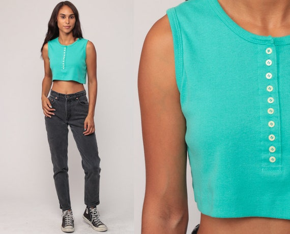Turquoise Tank Top 80s Crop Top Green Cropped Shirt Cotton 1970s Button Up Hipster Sleeveless Summer Top Bright Small