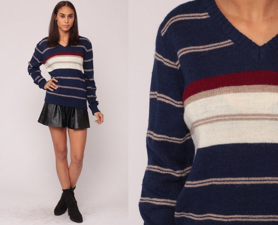 80s Sweater Striped Sweater V Neck Grandpa Knit Slouchy Pullover Jumper 1980s Vintage Retro Navy Blue Red White Medium