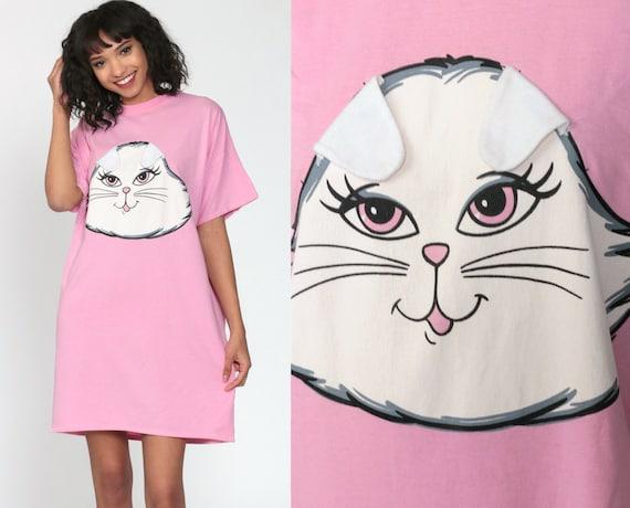 Rabbit Pajama Dress 80s BUNNY Nightgown Pajama TShirt Pink Flirts Kawaii Print White Rabbit Cartoon Mini 1980s Vintage Small Medium Large