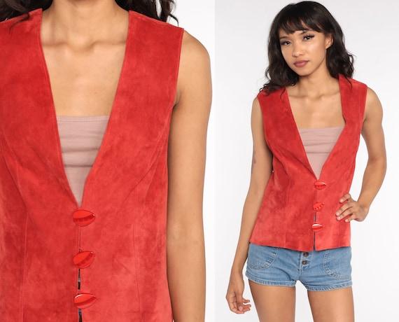 80s Suede Vest Orange Boho Suede Leather Vest 1980s Bohemian Vintage Small