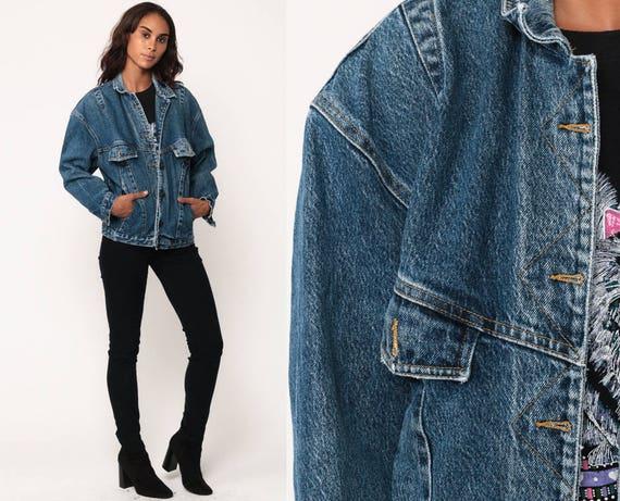 90s Jean Jacket Denim Jacket Trucker Jeans Blue 80s Vintage Biker Grunge Hipster Coat Oversized medium