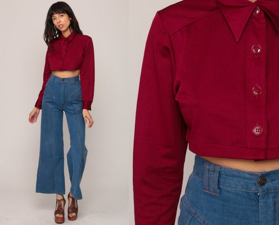 Cropped Shirt 70s Blouse Crop Top Bohemian Burgundy Shirt Button Up Disco Top Boho Hippie 1970s Hippie Long Sleeve Small Medium