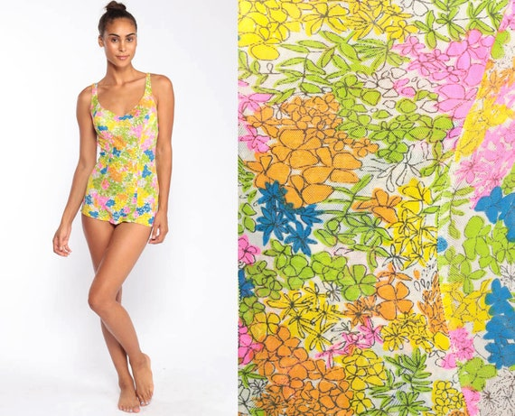 70s Swimsuit Floral One Piece Bathing Suit Hippie Boho Swim Suit Pin Up SKIRTED Mod Vintage Pinup Bohemian 60s Rose Marie Reid Small Medium
