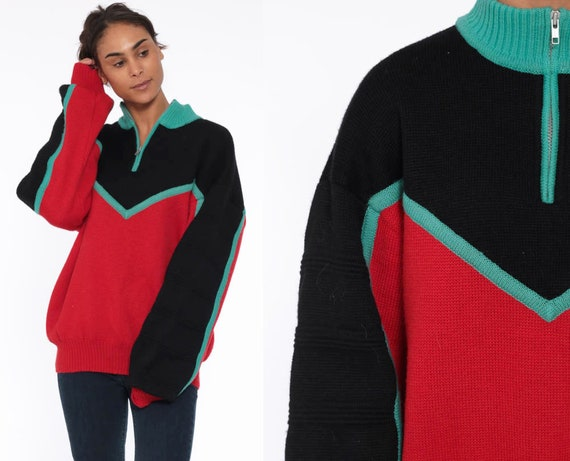 80s WOOL Ski Sweater Jacket Winter Sweater Knit Striped Red Color Block Half Zip Polo Teal 1980s Slouchy Vintage Skiing Oversized Large