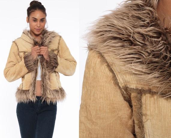 00s Jacket Corduroy FAUX FUR Jacket Y2K Boho Jacket Trim Coat Bohemian 2000s Tan Faux Fur Trim Vintage Hippie Almost Famous Extra Small XS