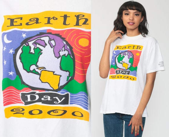 Earth Day Shirt 2000 Tshirt Environmentalist Shirt Graphic T Shirt 00s Y2K Shirt Vintage Retro Tee White Small Medium