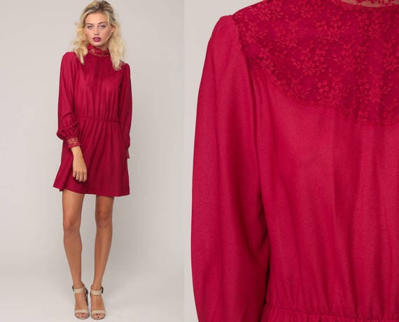 Victorian Dress 70s Mini LACE Party Minidress Boho High Waist Puff Sleeve Raspberry Red Vintage Grecian Long Sleeve Medium Large