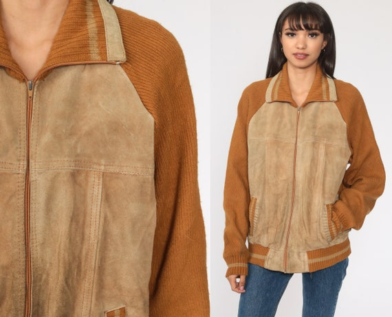 Suede Leather Sweater Jacket Brown Knit Boho Cardi