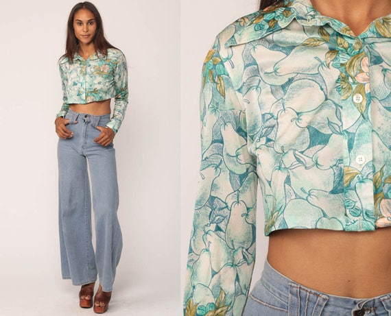 Boho Shirt PEAR FRUIT Blouse 70s Boho Crop Top Floral Button Up Novelty Print Bohemian Long Sleeve 1970s Vintage Hippie Blue Small