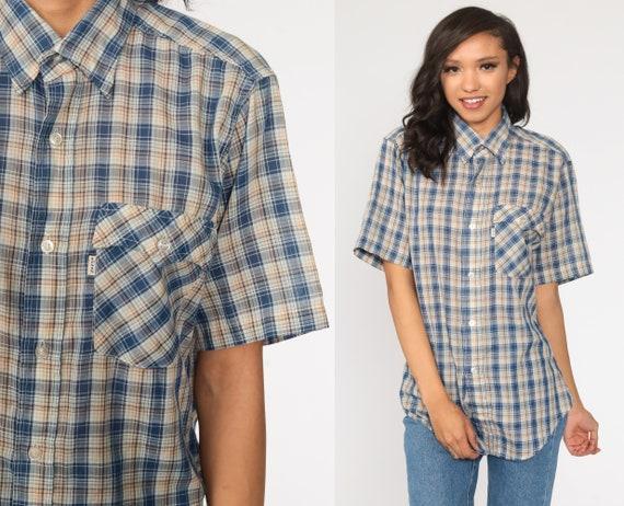 Plaid Levis Shirt 80s Button Up Blouse Checkered Shirt Short Sleeve Levi Check Print Top Vintage Blue Tan Preppy Medium Large