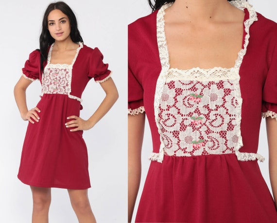Lace Bib Dress 70s Babydoll Dress 70s Mini Dolly Burgundy Red 60s Mod Puff Sleeve Minidress Empire Waist Vintage Lolita Baby Doll Small
