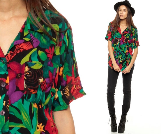 Floral Button Up Shirt 80s CREPE Oversized Top Vintage TROPICAL Blouse Hawaiian Print Black Surfer 1980s Green Red Short Sleeve Small Medium