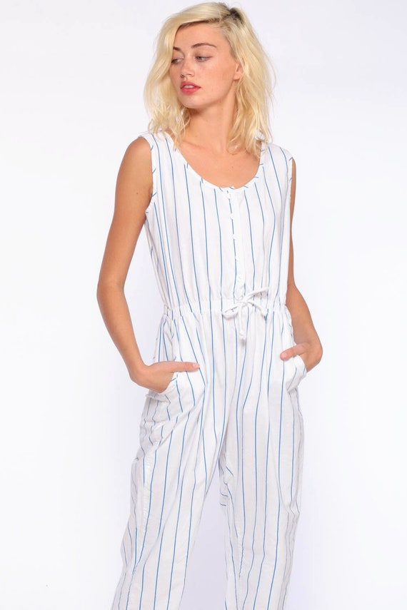 d931b4272d5 White Striped Jumpsuit 80s Onesie Playsuit Tapered Pant Cotton