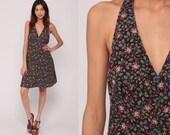 Floral Mini Dress Brown Bohemian 70s Hippie Halter Neck Deep V Neck Empire Vintage 80s Sundress Sun Boho Paisley Print Small Medium