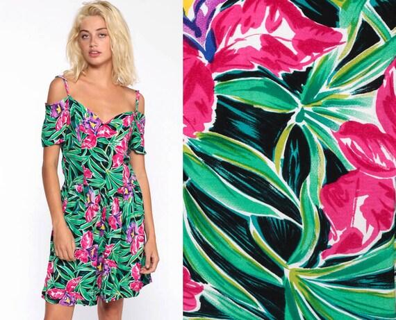Off Shoulder Romper Dress 80s Floral Tropical Sundress Mini Jungle Green Pink Cold Shoulder Vintage 1980s Bohemian Summer Medium
