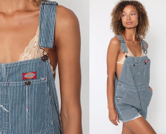 Short Dickies Overalls CUTOFF Denim Overall Shortalls Jeans Striped Conductor 90s Grunge Jean Blue Woman Frayed 1990s Vintage Small