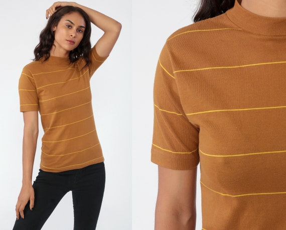 80s STRIPED Shirt Brown 80s T Shirt Stranger Things Mock Neck High Neck Retro Vintage Ringer Tee Short Sleeve 1980s Extra Small XS